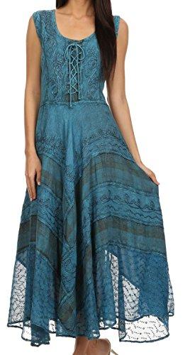 Sakkas 15322 - Azalee Stonewashed Rayon Stickerei Korsett Stil Kleid - Türkis Blau - L/XL