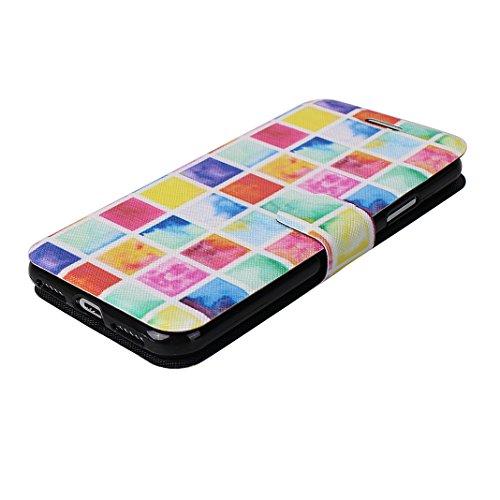 Custodia Moda Per iPhone X, Asnlove PU Pelle Caso Funzione Portafoglio Cover Motif di Colore Cassa Flip Libro Case Bumper Antiurto Protezione Completa Shell Per iPhone X - Colore 1 Colore 7