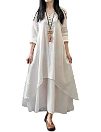 Romacci Women Boho Dress Casual Irregular Maxi Dresses Vintage Loose Long Sleeve Cotton Viscose Dress,