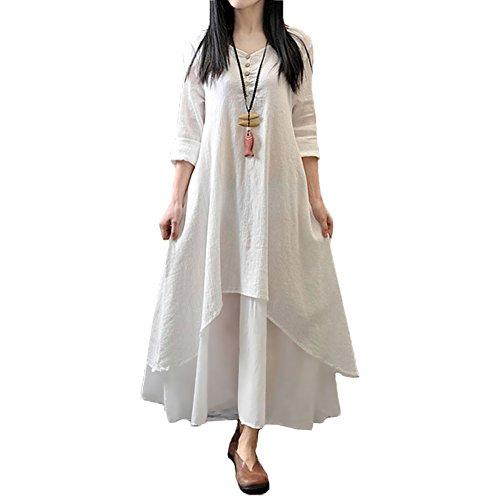 Romacci Damen Beiläufige Lose Kleid Fest Langarm Boho Lang Maxi Kleid S-5XL Schwarz/Weiß/Rot/Gelb (Langes Kleid Kleid)