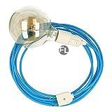 Fassung e27 mit Kabel und Stecker | textilkabel mit fassung und stecker | lampenfassung mit schalter als moderne Hängelampe (1,8 Meter, türkis)