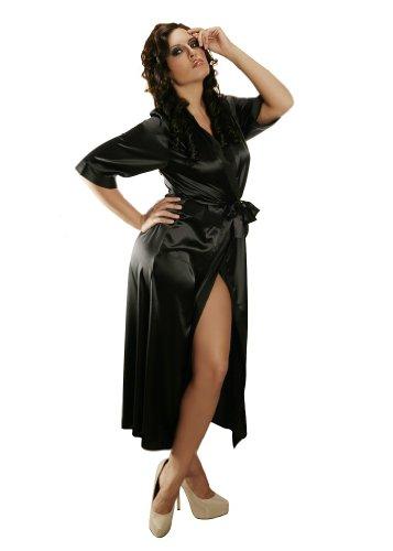 Nine X -Peignoir long forme kimono en satin femme chuchotements du 36 au 55 Black M