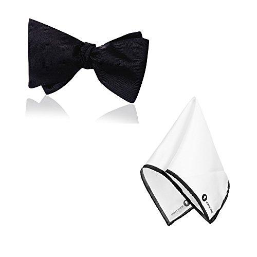 VON FLOERKE Set Fliege Querbinder Schleife zum Selberbinden mit passendem Einstecktuch Strunztuch – schwarz, schwarz aus 100% - Die Männer Weiße Dinner-jacket