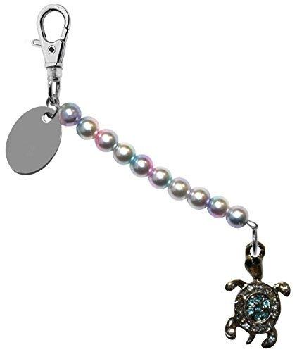 Gravur Personalisiert blau Schildkröte Perlglanzfarbe Perle schlusselring / Handtaschen Anhänger in Geschenk Beutel bd6lt61 (Handtasche Geschenk-beutel)