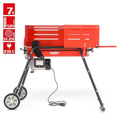 Holzspalter mit Fahrgestell, Spalter der neuen Generation - Für ein bequemes und Rückenschonendes Arbeiten - 2000 WATT POWER Motor - 7 Tonnen Spaltdruck- 200 Bar Hydraulikdruck (Rot)