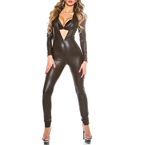 Catsuit Damen Leder Body V-Kragen Wetlook Fetisch Jumpsuit Geöffneter Schritt Reißverschluss, Black, XL - Fetisch Kragen