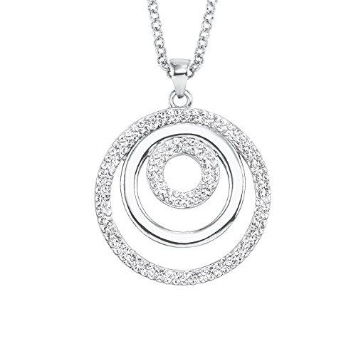 NOELANI Damen-Halskette mit Kreis-Anhänger rhodiniert mit Kristallen von Swarovski
