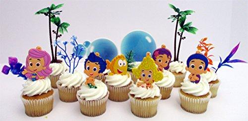 Bubble Guppies Geburtstagskuchenaufsatz mit Figuren von Bubble Guppies und dekorativen Accessoires (Guppies Nonny Bubble)