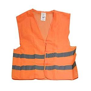 KOBWA, Gilet di Sicurezza Catarifrangente, Rete Traspirante ad Alta visibilità, Ideale per emergenze, Corsa, Traffico, Auto, Ciclismo, evacuazione. Giallo e Arancione. Orange