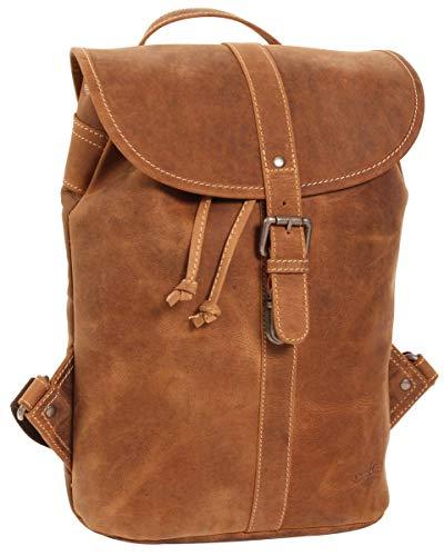 Gusti Rucksack Leder Damen Herren klein - Bennett Freizeitrucksack Unirucksack Backpack 12L Vintage Braun Matt Schnappverschluss Wasserfest