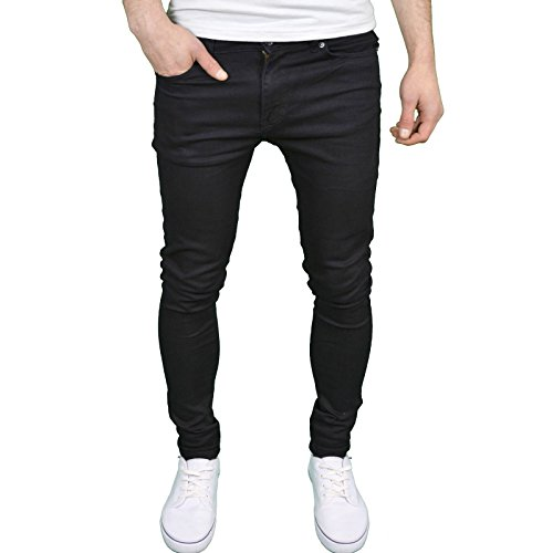 526Jeanswear Herren Stretch Super Skinny Fit Jeans 30W/30L, Schwarz - Skinny Stretch Denim Schwarz
