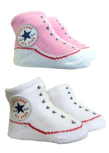 Converse-Stivaletti Calzini, colore: rosa/bianco, rosa (Pink), 0-6 mesi