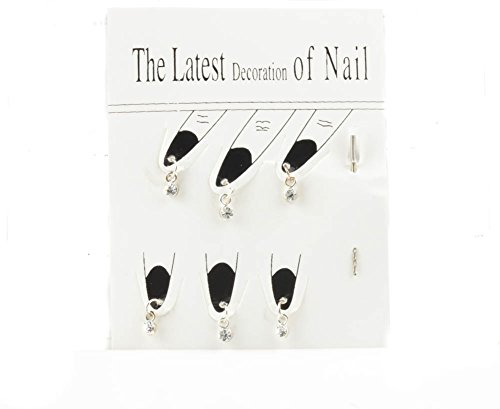 Silver Tone Nail Dangles Jewellery Round Crystal Nail Decor Jewellery With piercing Pin Clear Crystal By Mytoptrendz