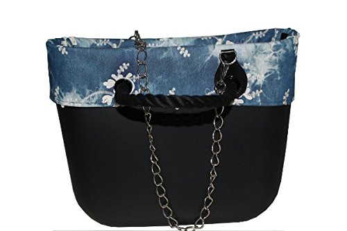 Borsa O Bag scocca colore nero manici corda neri con tracolla catena inox interno canvans bordo demin 59