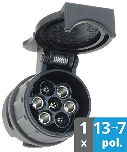 valonic Anhänger Adapter | 13 auf 7 polig | schwarz | Auto zu Hänger | für Pkw, Kfz und LKW | kurz | Anhängerkupplung, Adapterstück