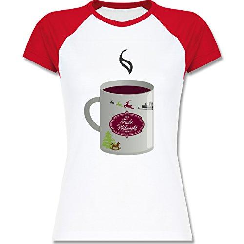 Weihnachten & Silvester - Glühwein Frohe Weihnachten - zweifarbiges Baseballshirt / Raglan T-Shirt für Damen Weiß/Rot