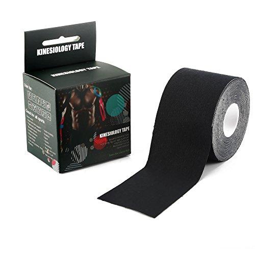 Kinesiologie-Tape, perfekte Unterstützung für Sport, sportlich, lindert Schmerzen und schmerzende Muskeln, Knie, Schultern, Rücken, Waden, Arm und mehr - ungeschnitten, 5 cm x 5 m Rolle, schwarz