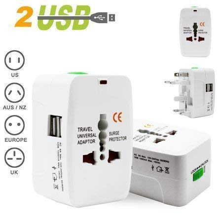 Universal Adapter Worldwide Travel Adapter with Built in Dual USB Charger Ports - White