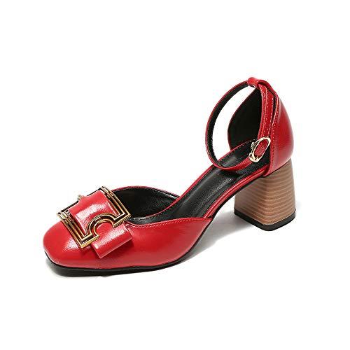 Uhrtimee 2018 Sommer Neue Wort Schnalle Einzelne Schuhe Weibliche Dicke Mit Baotou Rote Hohe Absätze Kleine Größe 31 Quadratischer Kopf 32 Retro 33,37, Rot [6 cm]