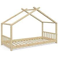 Preisvergleich für Vicco Kinderbett Hausbett Design 90x200cm Natur Kinder Bett Holz Haus Schlafen Hausbett Spielbett Inkl. Lattenrost