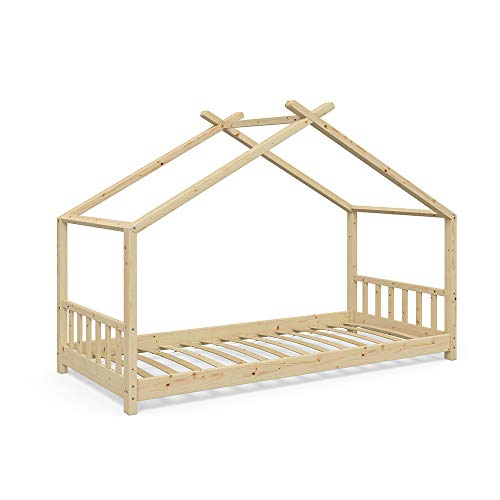 Vicco Kinderbett Hausbett Design 90x200cm Natur Kinder Bett Holz Haus Schlafen Hausbett Spielbett Inkl. Lattenrost