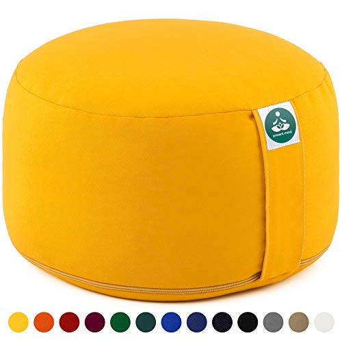 Present Mind Yogakissen Meditationskissen Extra Hoch - Sitzhöhe 20cm - Waschbarer Bezug aus Baumwolle