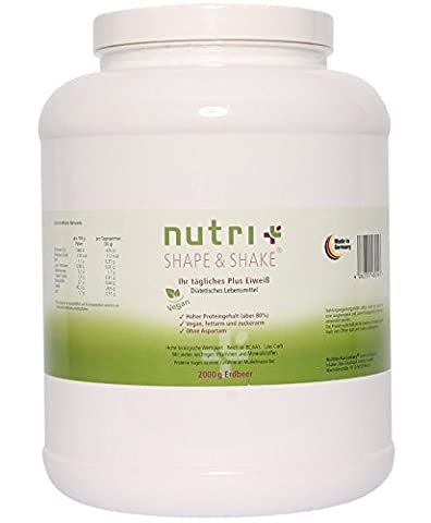 Nutri-Plus Shape & Shake Vegan Strawberry 2000g - Without aspartame, lactose, cholesterol and