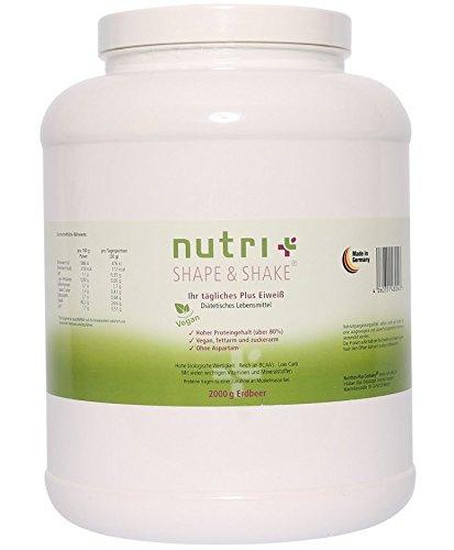 Nutri-Plus Shape & Shake Vegan Erdbeere 2000g - Ohne Aspartam, Milcheiweiß & Laktose - Dose inkl. Messlöffel