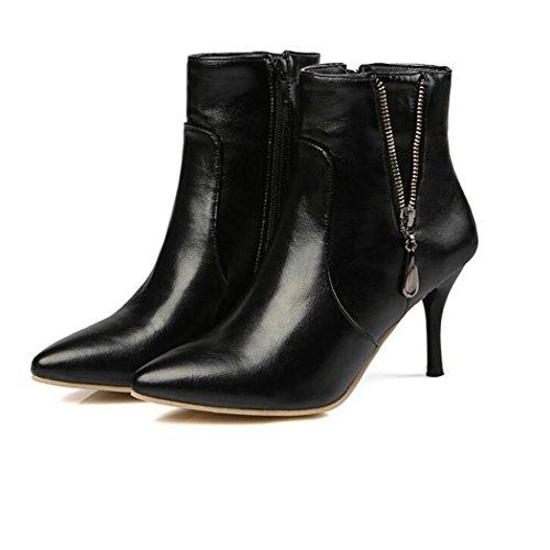 Zq @ Qxsugerencia De La Semana Para Siempre Con Elegantes Zapatos De Tacón Alto Y Versátiles, Gran Cantidad De Botas Cortas De Color Negro