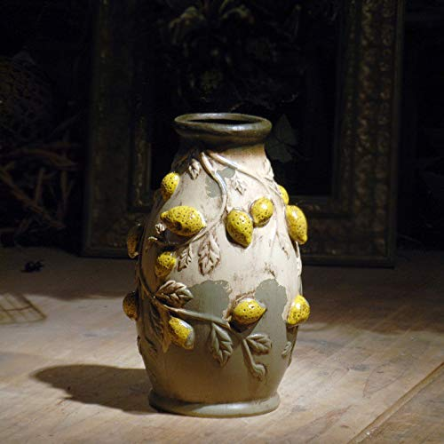 OYBB Ornamente Statuen Vasen Original-Design Italienischen Land Retro alte warme braune Zitronenfrucht Keramik Vase Blume Dekoration