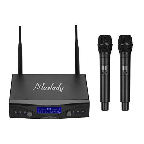 Muslady Mikrofonsystem Kabellos UHF U1 2 Handheld-Mikrofone & 1 Empfänger mit Hintergrundbeleuchtetem Display zum Karaoke Home-Entertainment Geschäftstreffen Rede Unterricht im Klassenzimmer