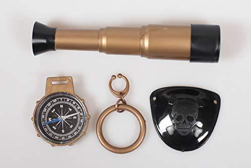Zubehör Piraten Kostüm Pistole Fernrohr Augenklappe Ohrring Münzen Schatztruhe: Farbe: Piraten-Set Fernrohr (Schatztruhe Piraten Kostüm)