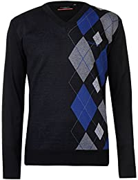 Pierre Cardin Mens New Season Argyle Knitted Jumper Crew Neck V Neck and Quarter Zip