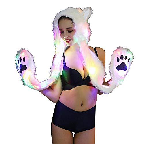 Damen Hut FORH Frauen Cap LED Licht Pelzmantel Nachtclub Tänzer Kleidung Outwear Hut und Handschuh Set Bühne Kostüme für Weihnachten Festliche Party