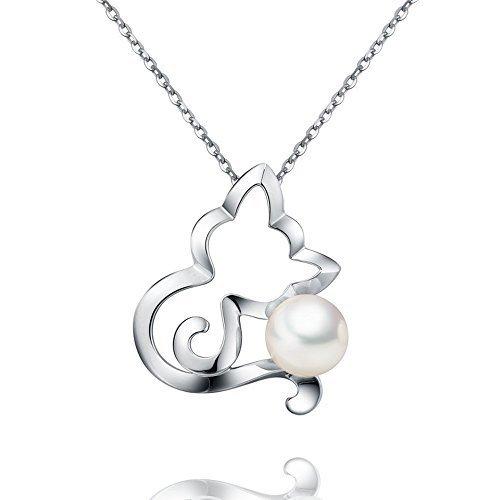 VIKI LYNN Damen Kette Katze Perlenkette Sterling Silber 925 Halskette mit 18K Weissgold plattierte Katze Form Süßwasser Perlen Anhänger