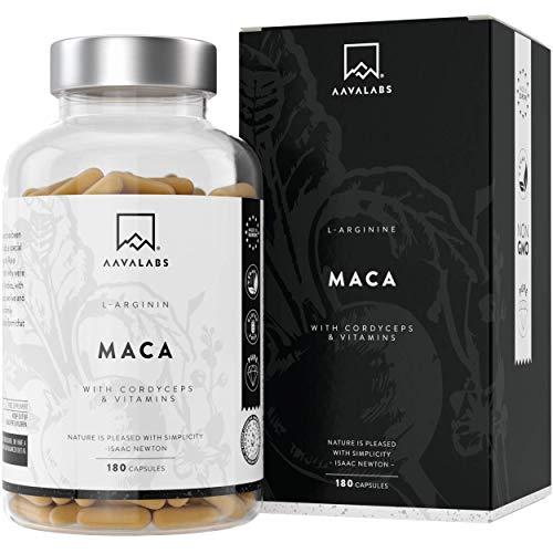 Maca L - Arginina [5600 mg] Cordyceps, Estratto di Acerola con Vitamina B6, B12 e Zinco per Dose Giornaliera - 100{46cb1a1a78d081d78001d239ad3bd547a22c3dbbedb305cd5f8c2cf0f6006a5f} Vegano - Testato in Laboratorio - Prodotto in UE - 180 capsule