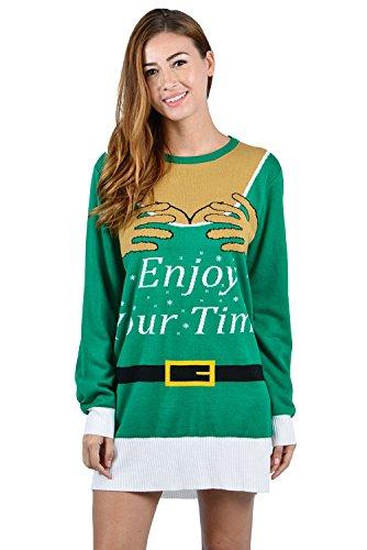 tige Jumper Shirts hässlich Chirstmas Xmas Party Tunika Pullover Kleid grün S ()