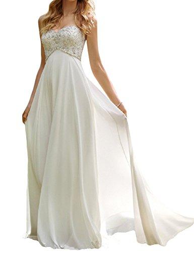 SongSurpriseMall Damen Herzenform Chiffon Brautkleider Lang Prinzessin Hochzeitskleider Weiß 42