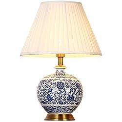 Hyun times Lámpara de mesa de cerámica de 40 * 58 cm pintados a mano de porcelana azul y blanca sala de estar clásica chino dormitorio decorativo lámpara de cabecera