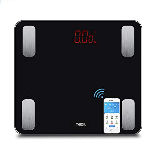 YHML Bluetooth Körperfettwaage, Drucksensor ABS-Material All-Inclusive-Smart Bluetooth Waage LED elektronische Waage,Black -