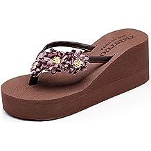 f59050f5445 Tongs Femme Compensées Flip Flops Fille Eté Chaussures de Plage à Talons  Pantoufles Bohème Plateforme Sandales