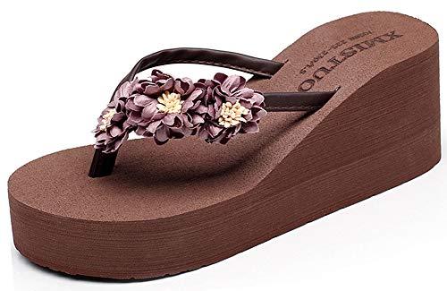 Plateau Flip Flops Badelatschen Böhmen Gänseblümchen Zehentrenner Plattform Sandalen Sommer Strand Schuhe Badeschuhe für Damen Kinder Mädchen