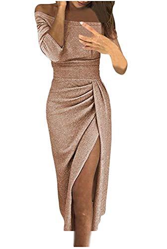 Jevvia Damen Schulterfrei Kleider Elegant Hochzeit Maxikleider für Brautjungfer Glänzend Hoch Geschnitten Abendkleider Partykleid Cocktailkleid