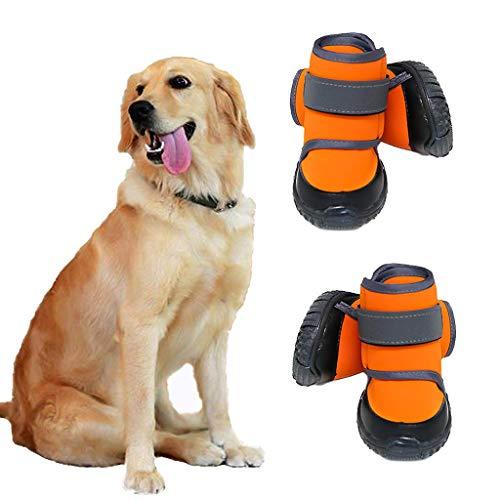 JiAmy Hundeschuhe XL-2 Stücke wasserdichte Hundeschuhe Snow Dog Booties Hundepfotenschutz mit Rutschfester Sohle, Hundeschneesocken für Schäfer, Rottweiler, Berner Sennenhund