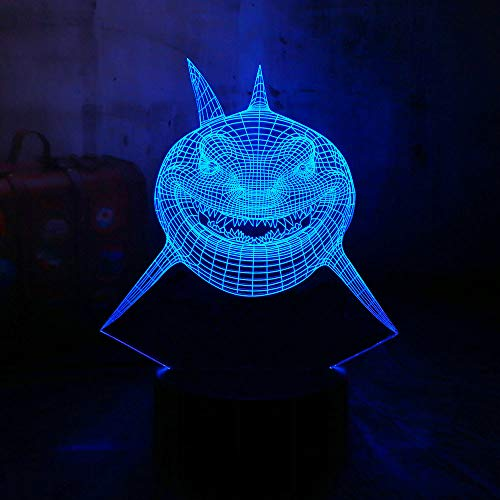 ht 3D Great White Shark Tier 3D Led Acryl Nachtlicht Usb Home Kinder Spielzeug Tischlampe ()