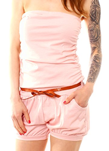 Easy Young Fashion Damen Sommer Bandeau Kurzoverall Jumpsuit One Size Rosa