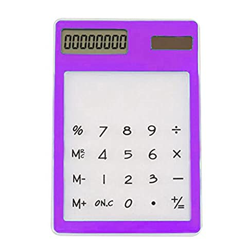 Skitic Portable écran Tactile Solaire Transparente Calculatrice Ultra-mince LCD 8 Chiffres Touch Calculator - Violet