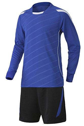BOZEVON Herren & Jungen Fußball-Set, Fußball Torwart Langarm-Anzug Fußball Jersey Set (Blau,EU 25 = Tag 26) (Fußball-uniformen Kinder Für)