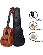 Ukulele 24 Mahogany with Demi Cut Super Combo With StandStr