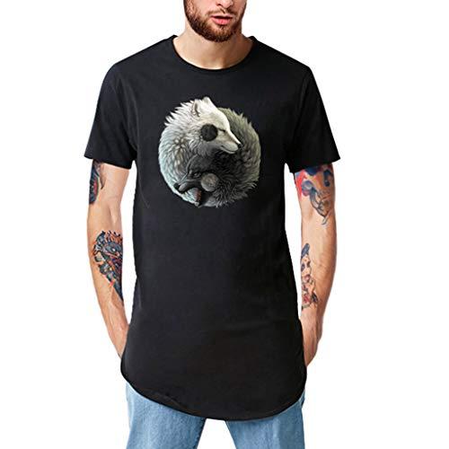 Mann Kostüm Länglich - Mens Print Erweiterte Long T Shirt Längliche Mode Lässig Rundhalsausschnitt Hipster T weißes Hemd Herren top Gun kostüm Herren